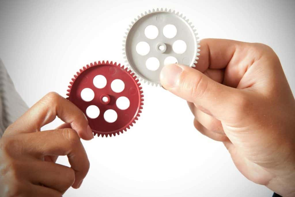 Two different people holding up mechanical gears that work together.