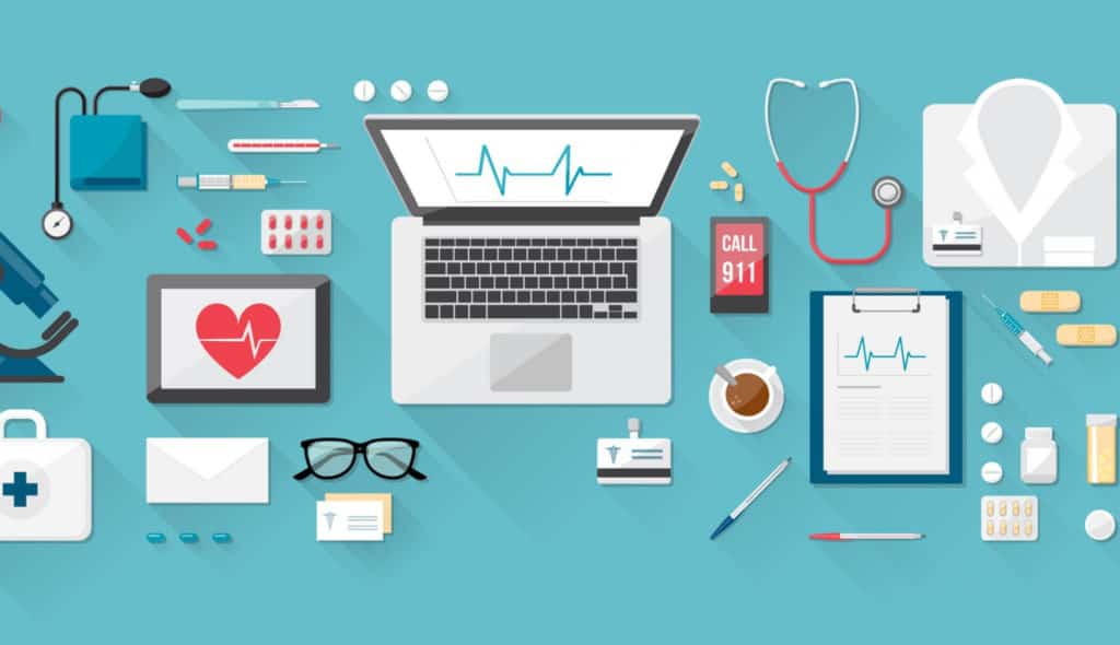 A computer and electronic devices are used to store healthcare data.
