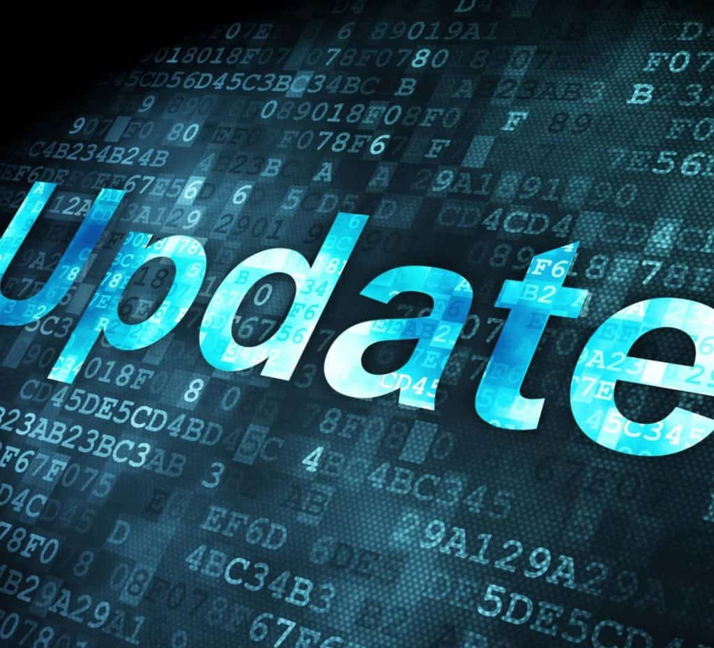 The word 'Update' written in blue computer code on a black background.
