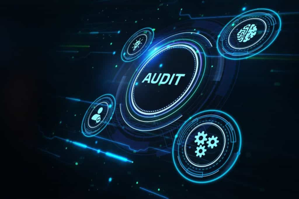 Digital graphics that say audit.
