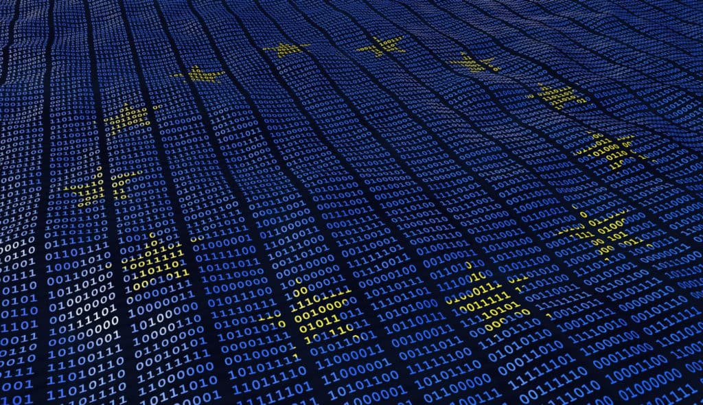 An EU flag superimposed on lines of data.