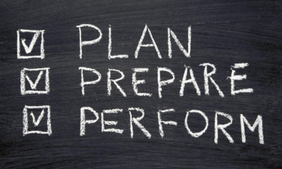 Plan, prepare and perform written on a blackboard and checked off.