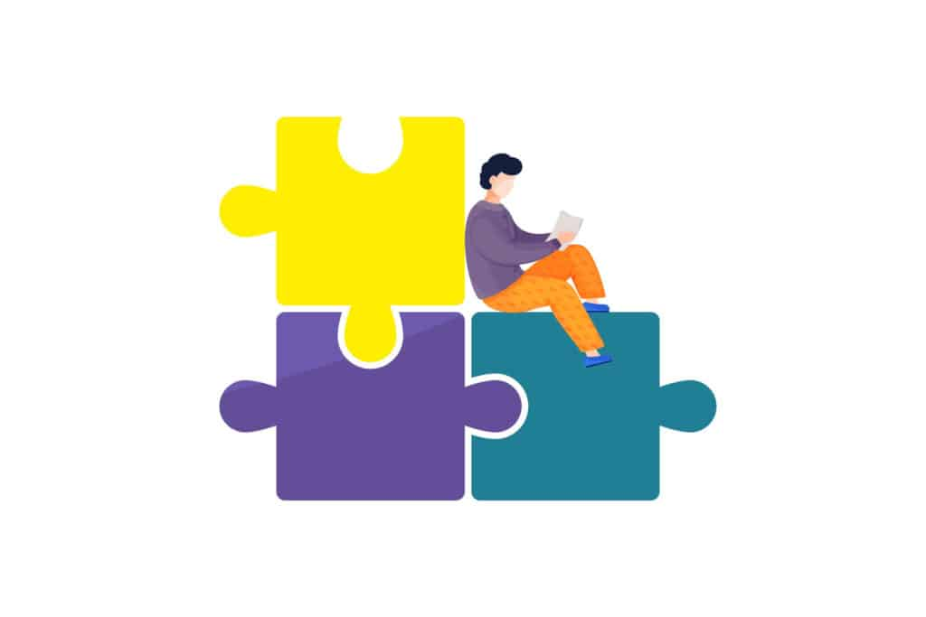 Illustration of business person reads a soc report while sitting on giant puzzle pieces.