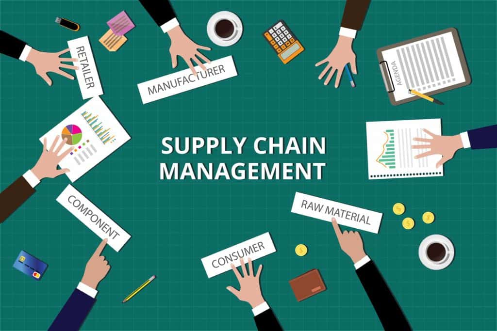 illustration of a business meeting about supply chain management